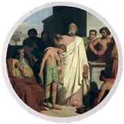 Annointing Of David By Saul Round Beach Towel by Felix-Joseph Barrias