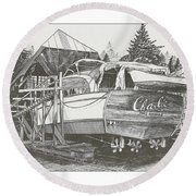 Annual Haul Out Chris Craft Yacht Round Beach Towel