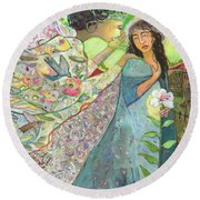 Annunciation Round Beach Towel