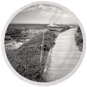 Another Asilomar Beach Boardwalk Black And White Round Beach Towel