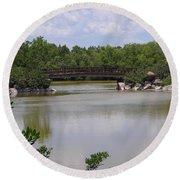 Another Bridge At The Zen Garden Round Beach Towel