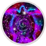 Another Cosmic Sea Turtle Round Beach Towel