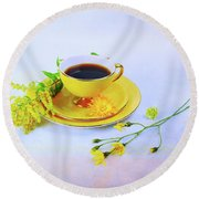 Another Cup Of Coffee Round Beach Towel