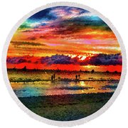 Another Day At The Beach Round Beach Towel