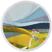 Another Day On The Farm Round Beach Towel