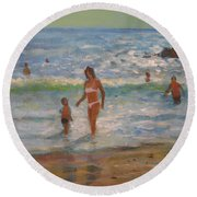 Another Hot Day Round Beach Towel