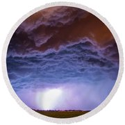 Another Impressive Nebraska Night Thunderstorm 007 Round Beach Towel