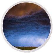 Another Impressive Nebraska Night Thunderstorm 008/ Round Beach Towel
