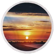 Another Island Morning Round Beach Towel