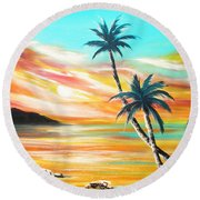 Another Sunset In Paradise Round Beach Towel