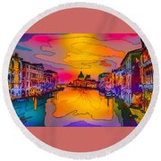 Another Surreal Venice Sunset Round Beach Towel
