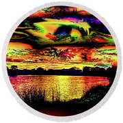Another Wicked Sunset Round Beach Towel