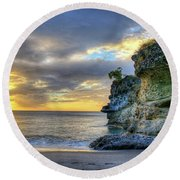 Anse Mamin Rock Formation At Sunset Saint Lucia Caribbean Sunset Round Beach Towel