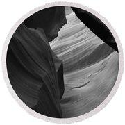 Antelope Canyon Erosions Bw Round Beach Towel