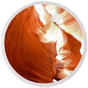 Antelope Canyon Scuplture Round Beach Towel