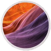 Antelope Rainbow Color Wave  Round Beach Towel