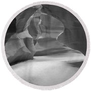 Antelope Slot Canyon Black And White Round Beach Towel