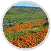 Antelope Valley Poppy Reserve Round Beach Towel
