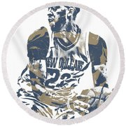 Anthony Davis New Orleans Pelicans Pixel Art 21 Round Beach Towel