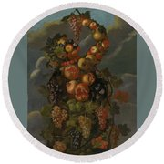 Anthropomorphic Allegory Of Autumn Round Beach Towel