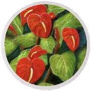 Anthurium Flowers #231 Round Beach Towel