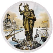 Anti-immigration Cartoon Round Beach Towel