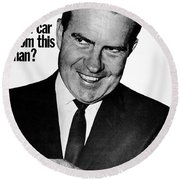 Anti-nixon Poster, 1960 - To License For Professional Use Visit Granger.com Round Beach Towel