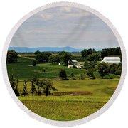 Antietam Battlefield And Mumma Farm Round Beach Towel