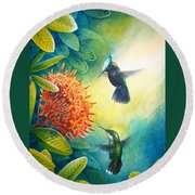 Antillean Crested Hummingbirds And Ixora Round Beach Towel