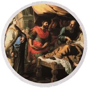 Antiochus And Stratonike Round Beach Towel