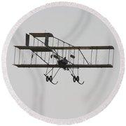 Antique 1910 Henri 3 Biplane  Airplane Takes Flight Poster Print Round Beach Towel