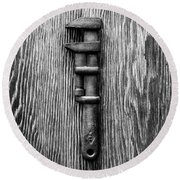 Antique Adjustable Wrench Bw Round Beach Towel