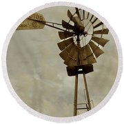 Antique Aermotor Windmill Round Beach Towel