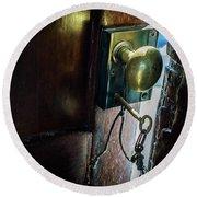 Antique Brass Doorknob Round Beach Towel
