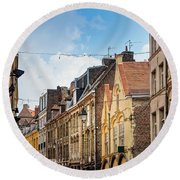 antique building view in Old Town Lille, France Round Beach Towel