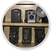 Antique Cameras Round Beach Towel