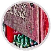 Antique Coca Cola Coke Refrigerator Round Beach Towel