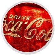 Antique Coca-cola Cooler Round Beach Towel