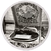 Antique Decca Gramophone By Kaye Menner Round Beach Towel