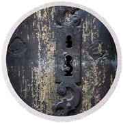 Antique Door Lock Detail Round Beach Towel