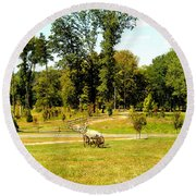 Antique Farm Equipment Round Beach Towel by Mindy Newman