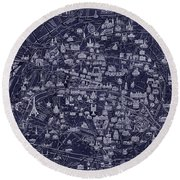 Antique French Pocket Map Of Paris Blueprint Style Round Beach Towel