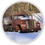 Antique Grungy Truck In Snow Round Beach Towel