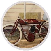 Antique Indian Motorcycle Red...   # Round Beach Towel