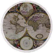Antique Map Exotic Colorful Round Beach Towel