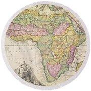 Antique Map Of Africa Round Beach Towel by Pieter Schenk