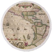 Antique Map Of America Round Beach Towel
