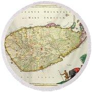 Antique Map Of Ceylon Round Beach Towel by Nicolas Visscher