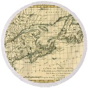 Antique Map Of Eastern Canada Round Beach Towel
