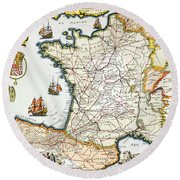 Antique Map Of France Round Beach Towel